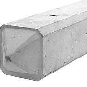 Betonpaal glad diamantkop 3-sponning 10x10x310cm Grijs-Wit (2 onderplaten 26 cm)