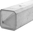 Betonpaal glad diamantkop 3-sponning 10x10x275cm Grijs-Wit