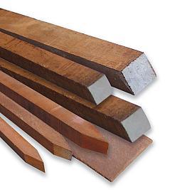 Azobe Paal Hardhout Ruw Gezaagd 60x60mm Gepunt    275 cm