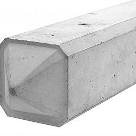 Betonpaal glad diamantkop lange sleuven 3-sponning 10x10x275cm Grijs-Wit