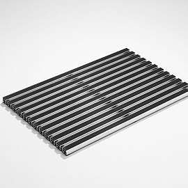 ACO Aluminium met rubberstroken, zwart 75x50x4,6