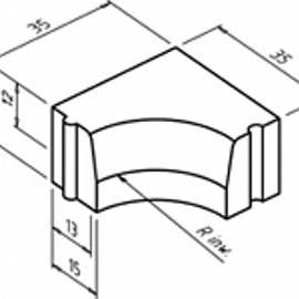 Hoekblok 13-15-20 inw R=0.45   13-15-20R=0.45.