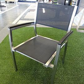Bella Dining Chair RVS inox black textileen