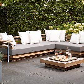 London Lounge set incl cushions 2x bench en 1x poof
