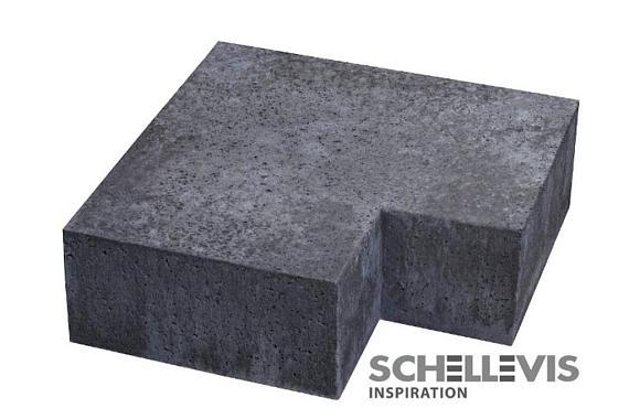 Schellevis Traptrede hoekstuk (massief) buiten 90° Antraciet 37x15cm
