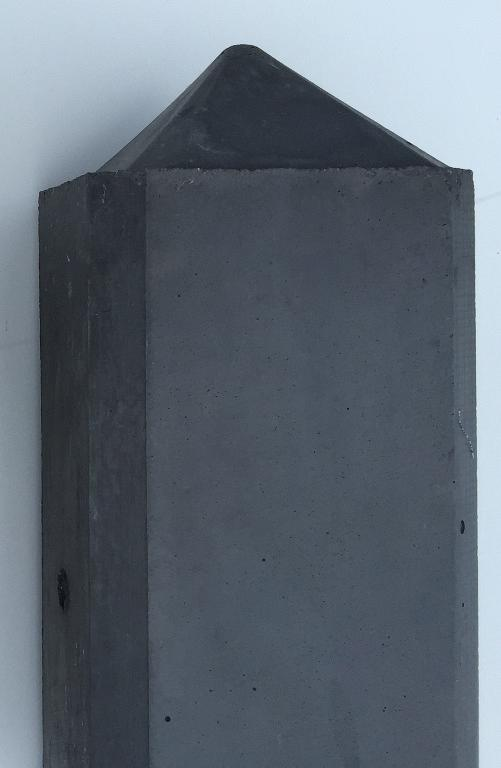 Betonpaal glad diamantkop hoekpaal 10x10x310cm Antraciet (2 onderplaten van 26cm)