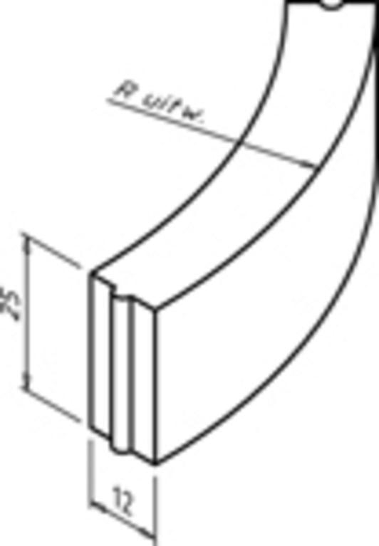 Bochtband 12x25-78.5cm R= 0.50 M vb KOMO grijs