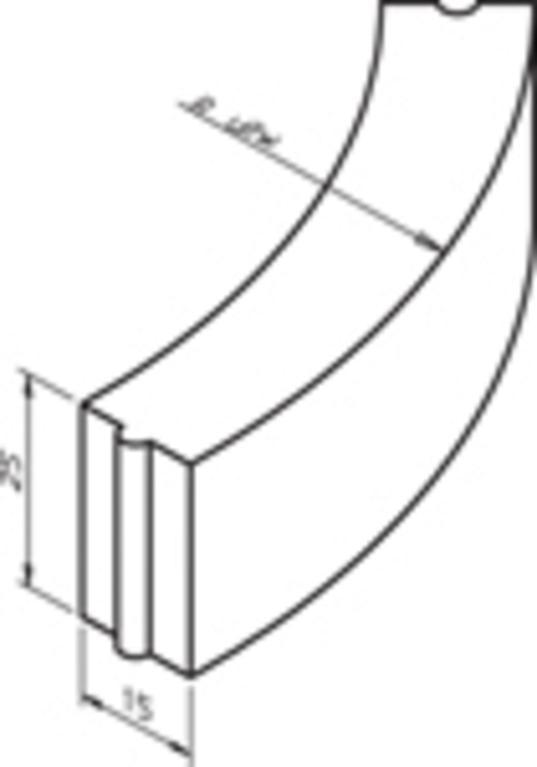 Bochtband 13-15x25-78.5cm R=0.50 inwendig vb grijs